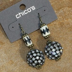 Chicos Boho Tribal Earrings Goldtone Drop Dangles